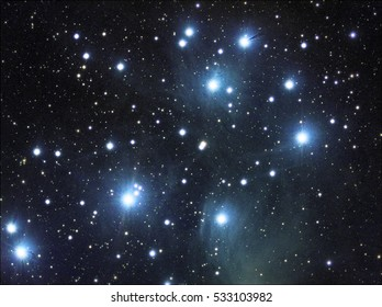 Pleiades also called Messier 45 or M45 . Taken by my telescope and cared by me in post production for details and quality.