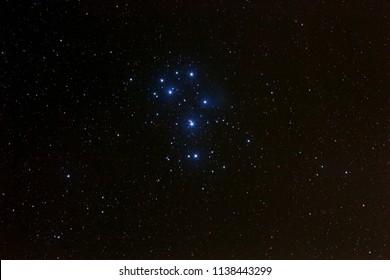 Pleiades constellation above The Czech Republic