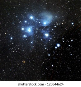 The Pleiades, also known as M45 in the constellation Taurus