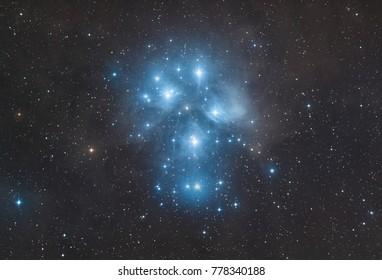 The Plejades star cluster in the constellation taurus (Messier 45)