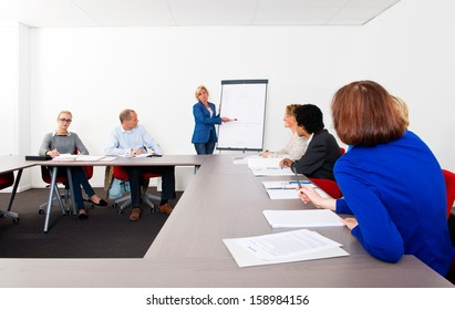 Plenary meeting of a small company, gathered in a meeting room around a flip over