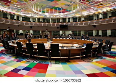 Plenary room in the European Council bulding in Brussels, Belgium on Dec. 10, 2016