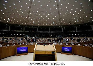Plenary room of the European Parliament in Brussels, Belgium on Jan. 30, 2017