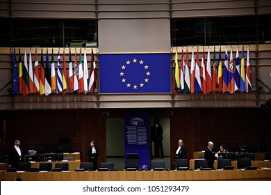 Plenary room of the European Parliament in Brussels, Belgium in Brussels, Belgium on Mar. 1 , 2017.