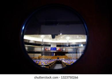 Plenary room of the European Parliament in Brussels, Belgium in Brussels, Belgium on Feb. 26, 2019