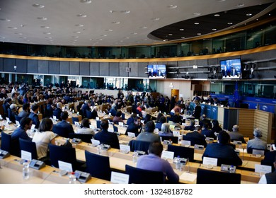 Plenary room of the European Parliament in Brussels, Belgium in Brussels, Belgium on Feb. 27, 2019
