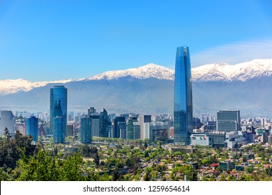 Plenty of business buildings in Santiago del Chile with trees in the foreground and the Andes mountains in the background