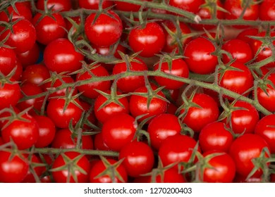Plenty of cherry tomatoes in a box on a market