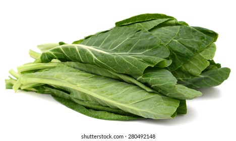 plenty of collards leaves isolated on white