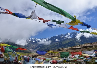 Plenty of colorful Buddhist prayer flags on the road.Manali,India