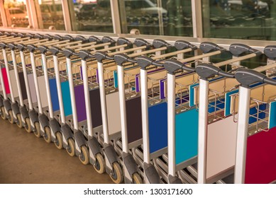 Plenty of Luggage cart Carriers on Airport