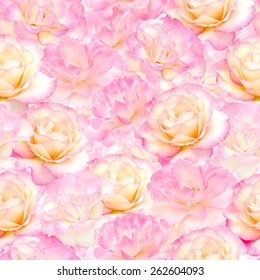 Plenty Pink natural roses seamless background. Nostalgic roses endless pattern.