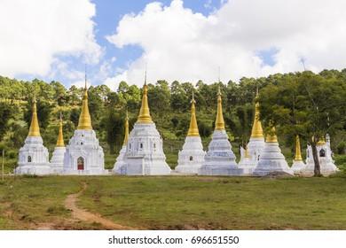 Plenty of stupas standing on top of the hill near Kalaw, Myanmar