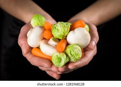Plenty of vegetables in woman hands on black background