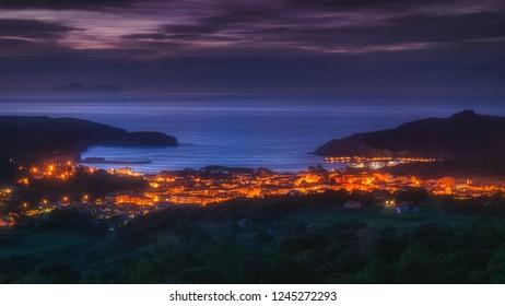 Plentzia and Gorliz villages at night