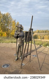Ples, Russia - September 24, 2014: Monument to Isaak Levitan on Levitan's mountain. Ples, Golden Ring of Russia
