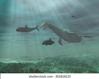 Plesiosaur chasing fish