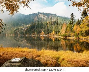 Plesne lake in Sumava national park (Bohemian Forest) in autumn. Czech republic