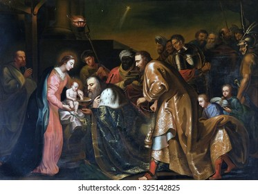 PLETERJE, SLOVENIA - JUNE 30: Nativity Scene, Adoration of the Magi, altarpiece in Chapel in the Carthusian monastery in Pleterje, Slovenia on June 30, 2015