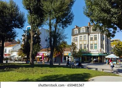 PLEVEN, BULGARIA - 20 SEPTEMBER 2015: Central street in city of Pleven, Bulgaria