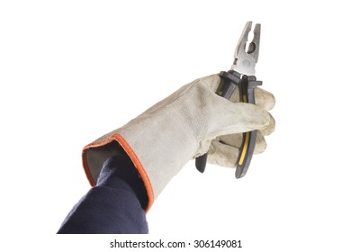 Pliers being handled with a grey leather glove isolated over white background