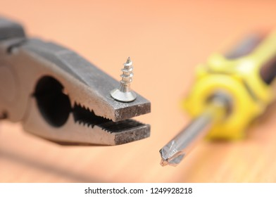 Pliers, screwdriver and small screw.