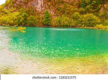 PLITVICE, CROATIA, April 30 2011:  One of 16 lakes in Plitvice Natural Park in Plitvice, Croatia.