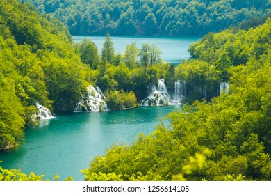 Plitvice, Croatia, beautiful green nature landscape, waterfalls in national park, panoramic view, beautiful world