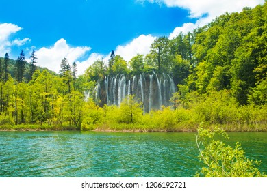 Plitvice, Croatia, famous world tourist heritage sight, waterfall and green nature
