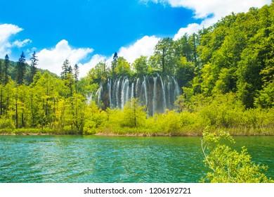 Plitvice, Croatia, famous world tourist heritage sight, waterfall and green nature