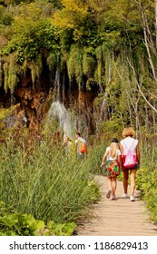 Plitvice/ Croatia - September 8th 2018: Active holiday - tourists hiking at Plitvice Lakes National Park