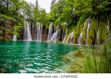 Plitvice  lake waterfalls and summer view in the Plitvice Lakes National Park .Croatia