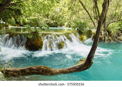 Plitvice Lakes in Croatia Beautiful lake with azure water and waterfalls surrounded by greenery, summer vacation