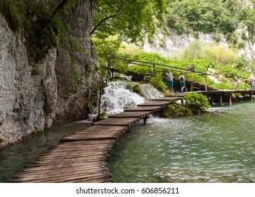 PLITVICE LAKES, CROATIA - JUNE 28, 2015: Breathtaking view in the Plitvice Lakes National Park .Croatia