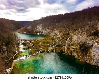 PLITVICE LAKES, CROATIA - MARCH 30, 2018: The view of  the Plitvice lakes national park in summer.