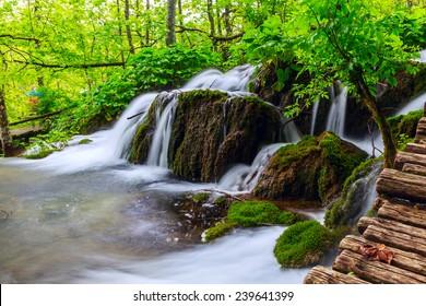 Plitvice lakes of Croatia - national park summer