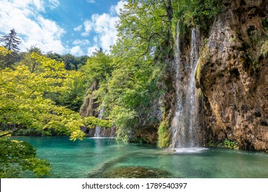 Plitvice lakes national park in cenytre of Croatia - waterfall