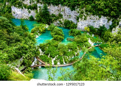 Plitvice Lakes national park of Croatia view from above the nature wonderland
