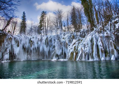 Plitvice lakes, national park in Croatia - winter edition