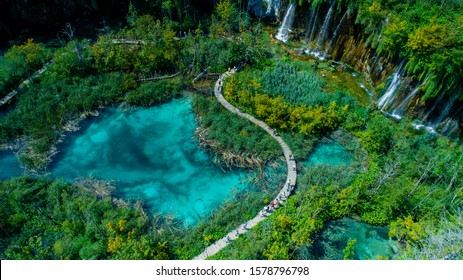 Сroatia, PLITVICE LAKES NATIONAL PARK drone shooting, panorama