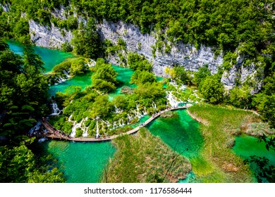 Plitvice Lakes National Park .Summer view of beautiful waterfalls in Plitvice Lakes National Park, Croatia