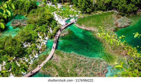 Plitvice Lakes National Park - UNESCO World Heritage Centre.Summer view of beautiful waterfalls in Plitvice Lakes National Park, Croatia