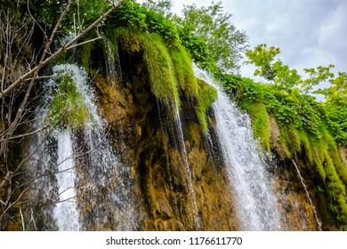 Plitvice Lakes National Park.Majestic view on turquoise water and waterfall in the Plitvice Lakes National Park. Croatia.