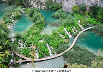 The Plitvice lakes with numerous bridges and waterfalls is one of the wonders of Croatia