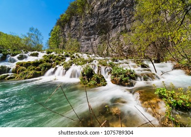 Plitvice Lakes With Waterfall, beautiful landscape with blurred flowing water