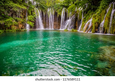 Plitvice National Park. Detailed view of the beautiful waterfalls in the sunshine in Plitvice National Park, Croatia