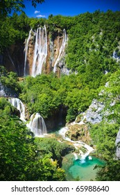 Plitvice National Park Waterfalls And Path Croatia