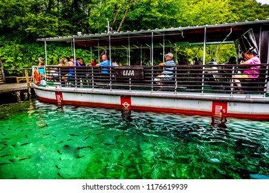 Plitvice,Croatia :06.06.2017:  River  boat at Plitvice Lakes National Park with tourists, Croatia.