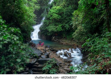 Pliw waterfall is a large and beautiful waterfall with water throughout the year.  There is a very nicely place to visit and relaxing. The landmark at Chanthaburi Thailand.