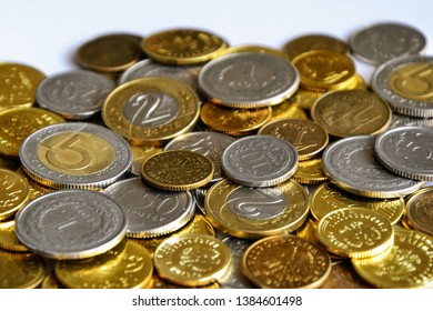 PLN, polish zloty -  the masculine from the Polish word 'golden', the currency of Poland. Stack of coins.  Financial growth, home budget, saving money, business, currency, work, bank, economy concept